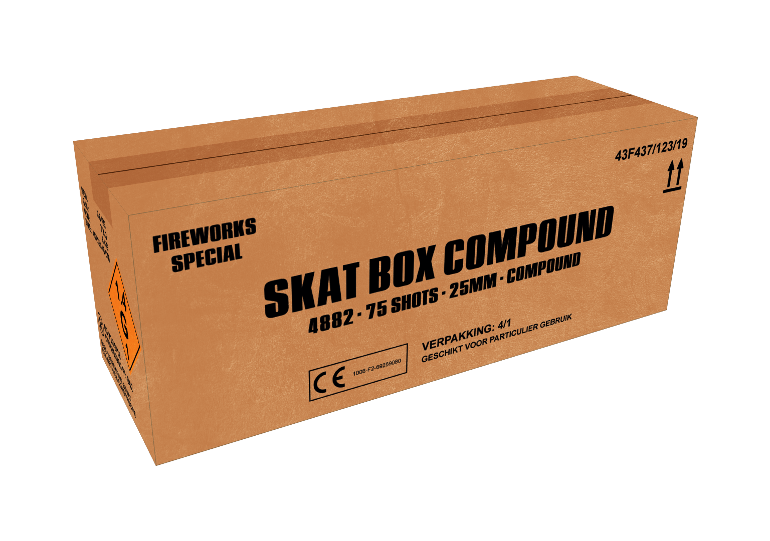 ART. 4882 SKAT BOX, 75 SHOTS CAKE 25 MM  COMPOUND