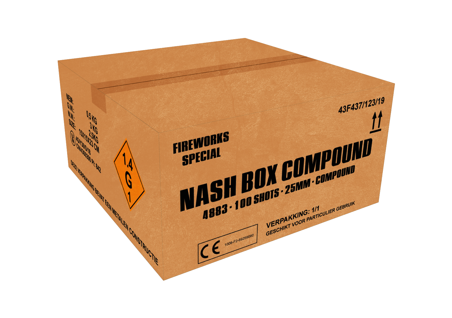 ART. 4883 NASH BOX, 100 SHOTS 25 MM COMPOUND NIEUW!