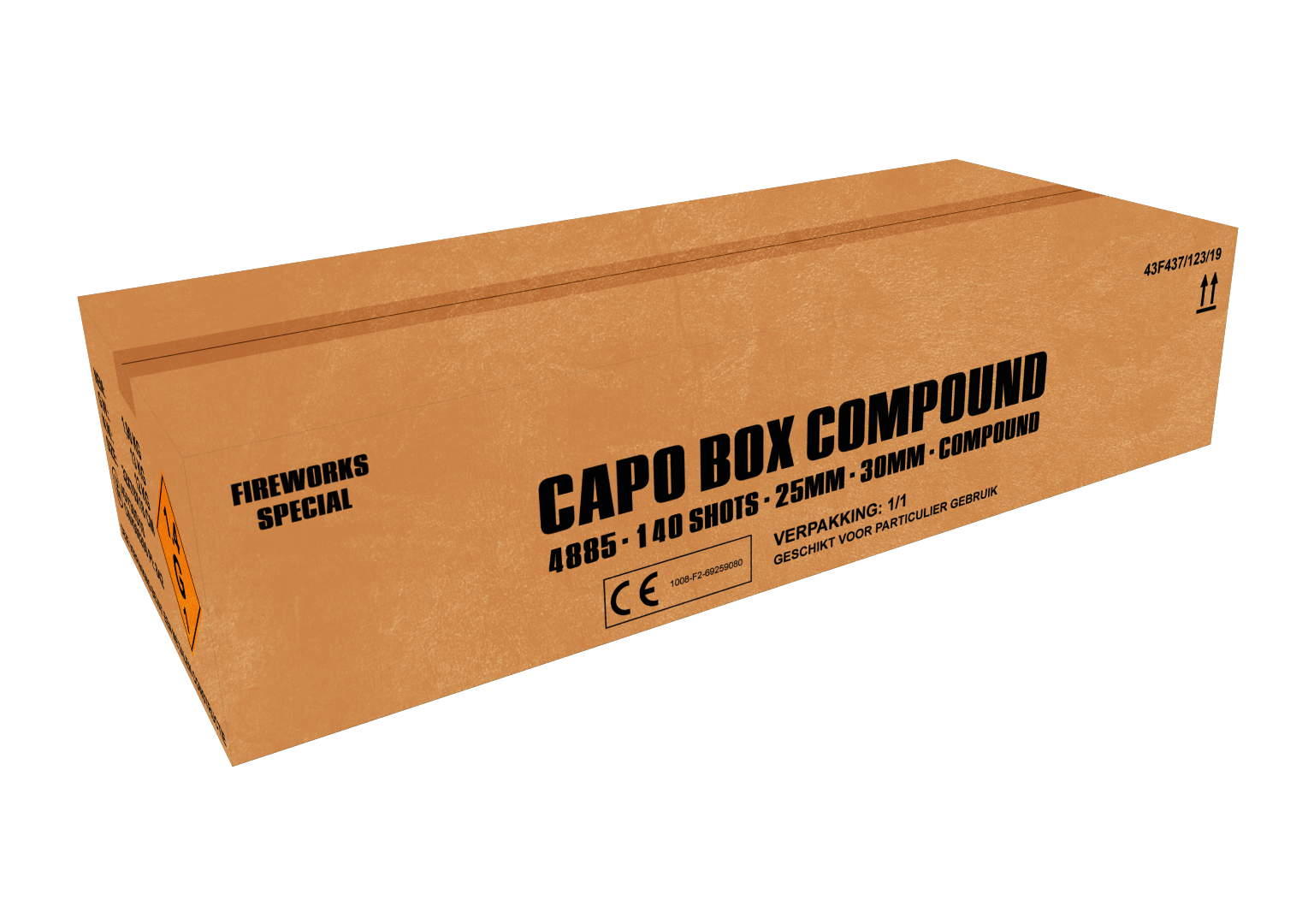 ART. 4885 CAPO BOX, 140 SHOTS WAAIERBOX COMPOUND NIEUW!