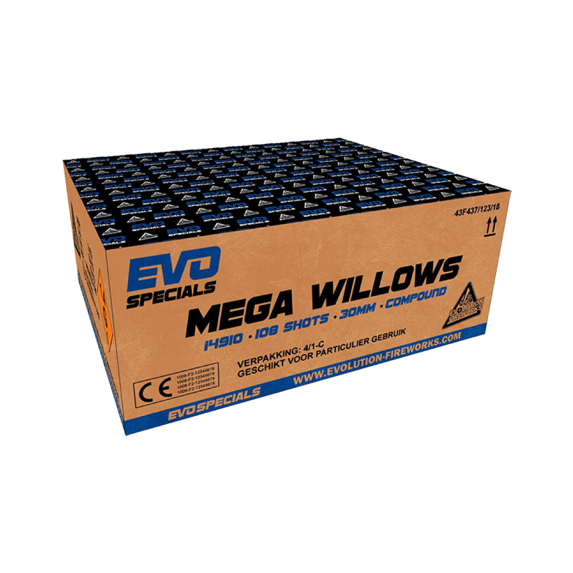 ART 14910 MEGA WILLOWS, 108 SHOTS, 30 MM TUBE SIZE