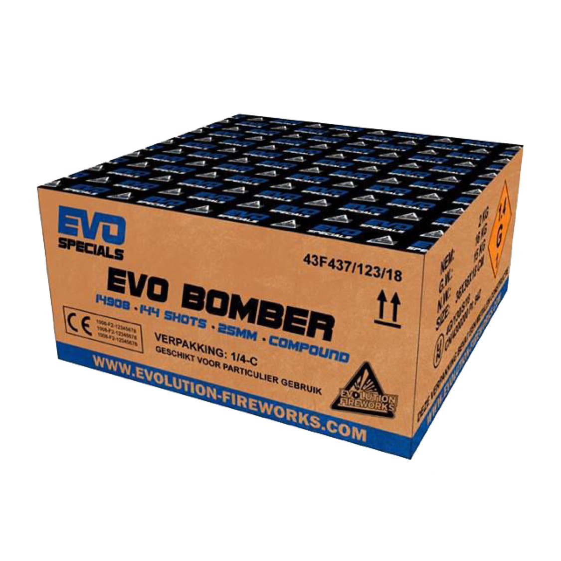 ART. 14908 EVO BOMBER, 144 SHOTS, 25 MM TUBE SIZE