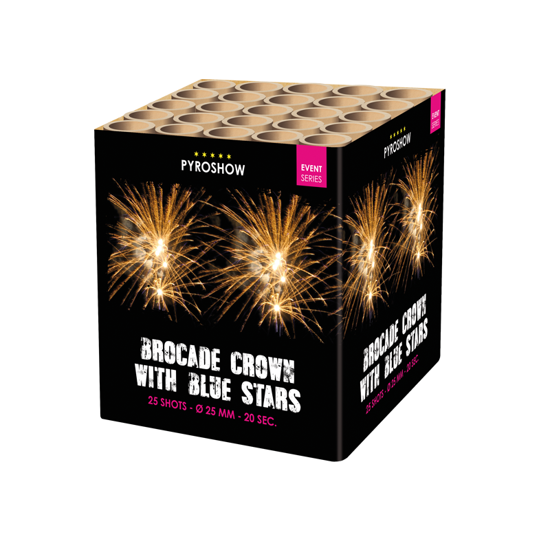 Brocade crown w. blue stars & tail