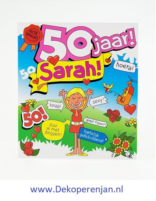kaart tekst 50 jaar sarah