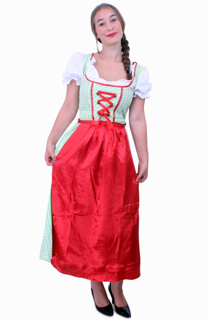 Tiroler jurk lang Sarah groen/wit ruitje, schortje rood Maat 44