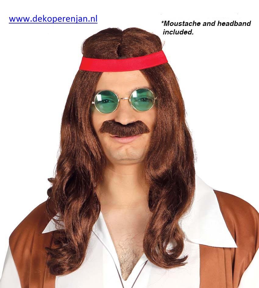 Hippy pruik met snor en hoofdband