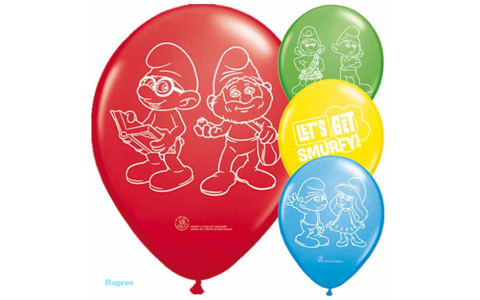 smurfen ballonnen 8st