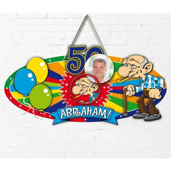 50 Jaar Abraham Knalfeest Deurbord - 48x35cm
