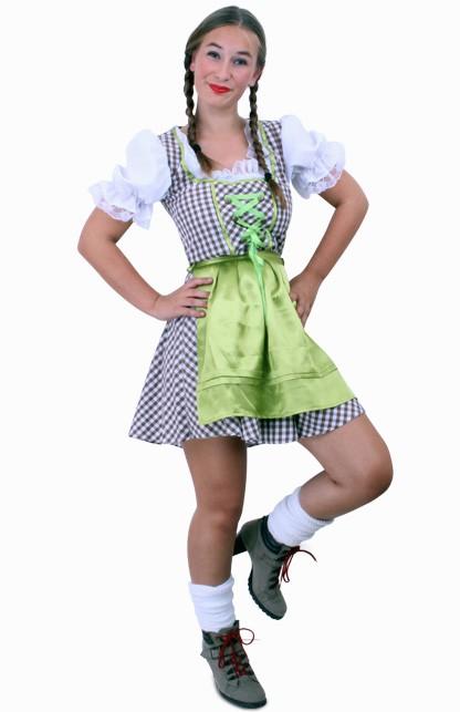 Tiroler jurk kort Wenzel bruin/wit Maat 42