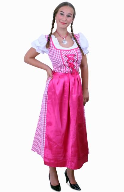 Tiroler jurk lang Lena pink/wit ruitje, schortje pink Maat 42