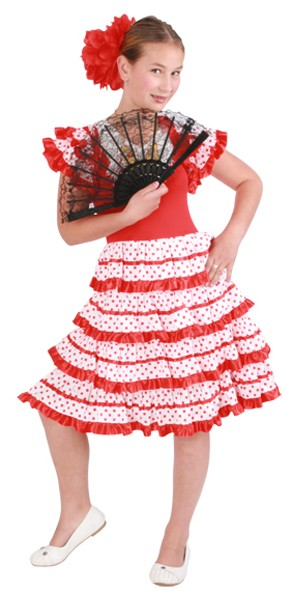 Spaanse jurk andalusie rood/wit voor kinderen van 10 á 11 jaar