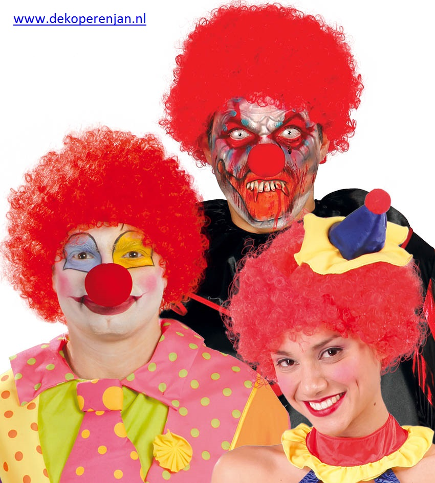 Rode clowns pruik