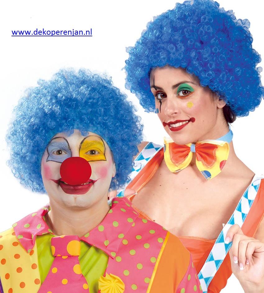 Blauwe clowns pruik