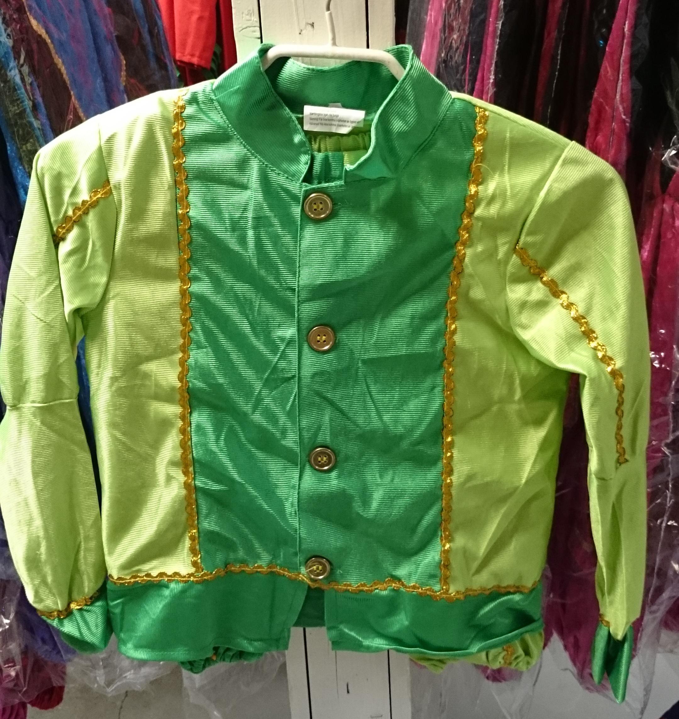 Kinder pietenpak Maat 116 Licht groen/donker groen