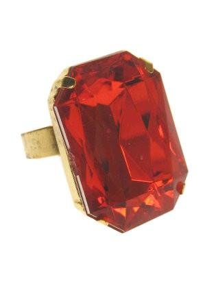 Sint ring rechthoekig rode steen