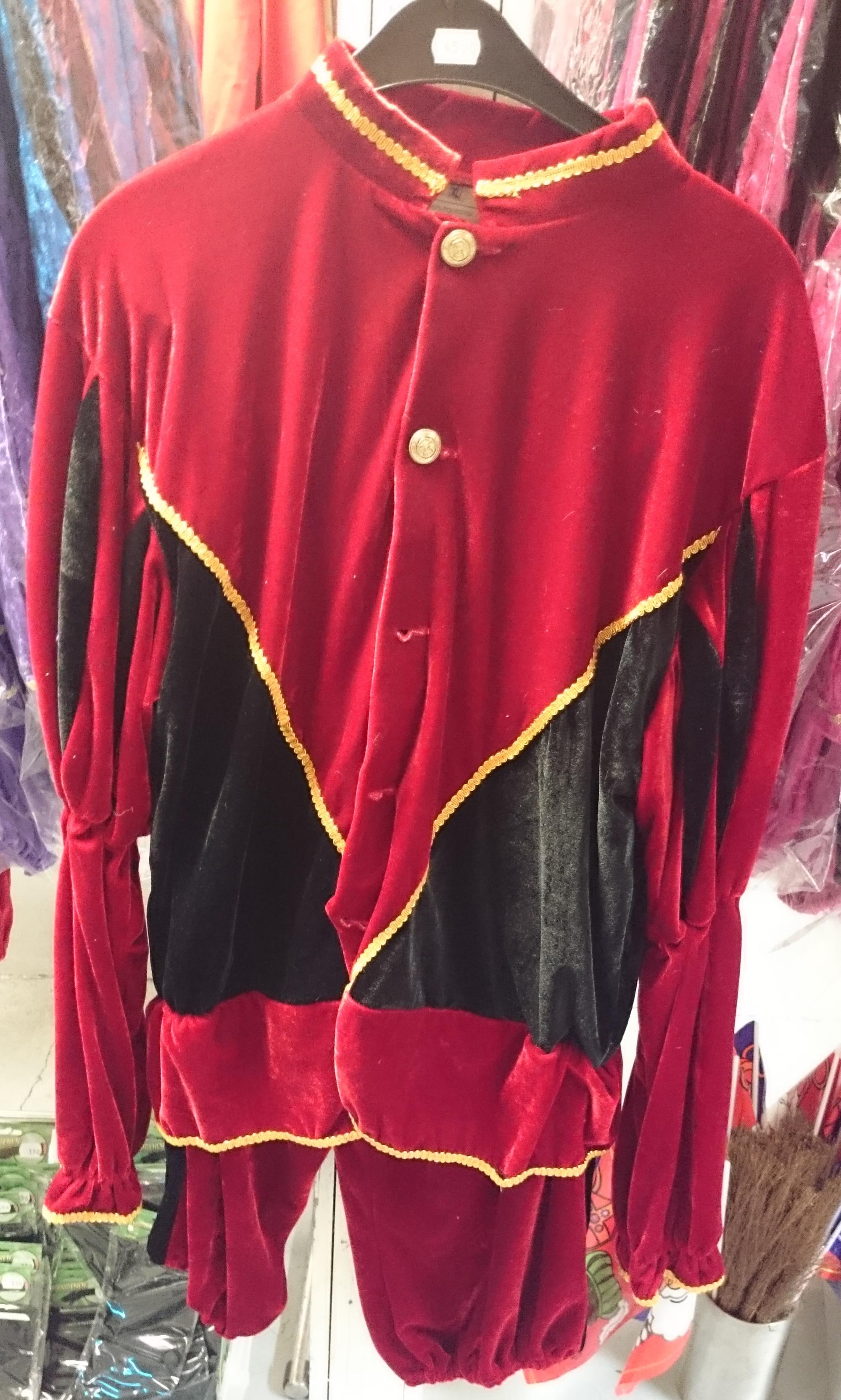Pietenpak Maat XL fluweel rood