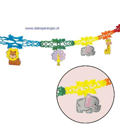 Papieren slinger met dieren 2 meter