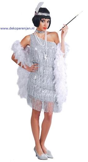 Zilver Charleston jurk maat L(42-44)