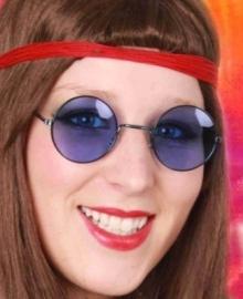Hippie bril met blauw glas