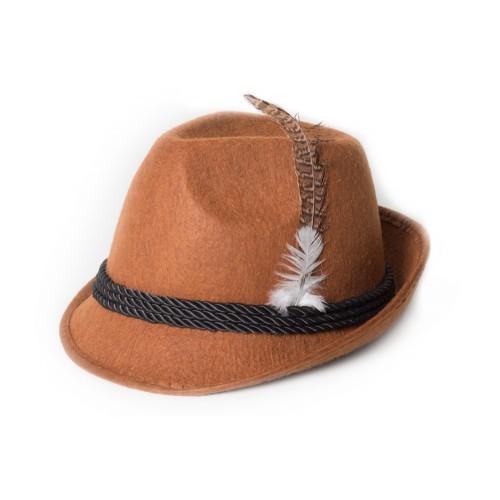 Tyrolean Hat Deluxe Bruin met veer