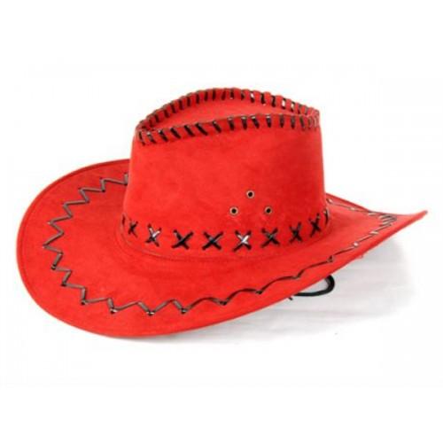 Rode leren cowboy hoed