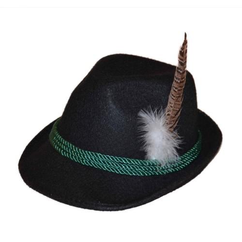 Tyrolean Hat Deluxe zwart met veer