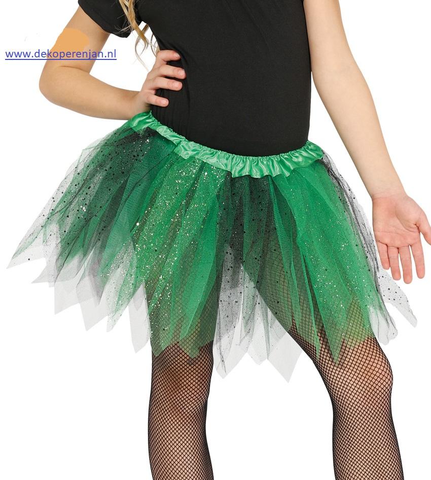 Tutu groen/zwart met glitter