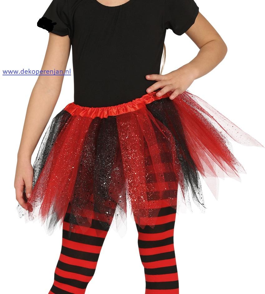 Tutu rood/zwart met glitter