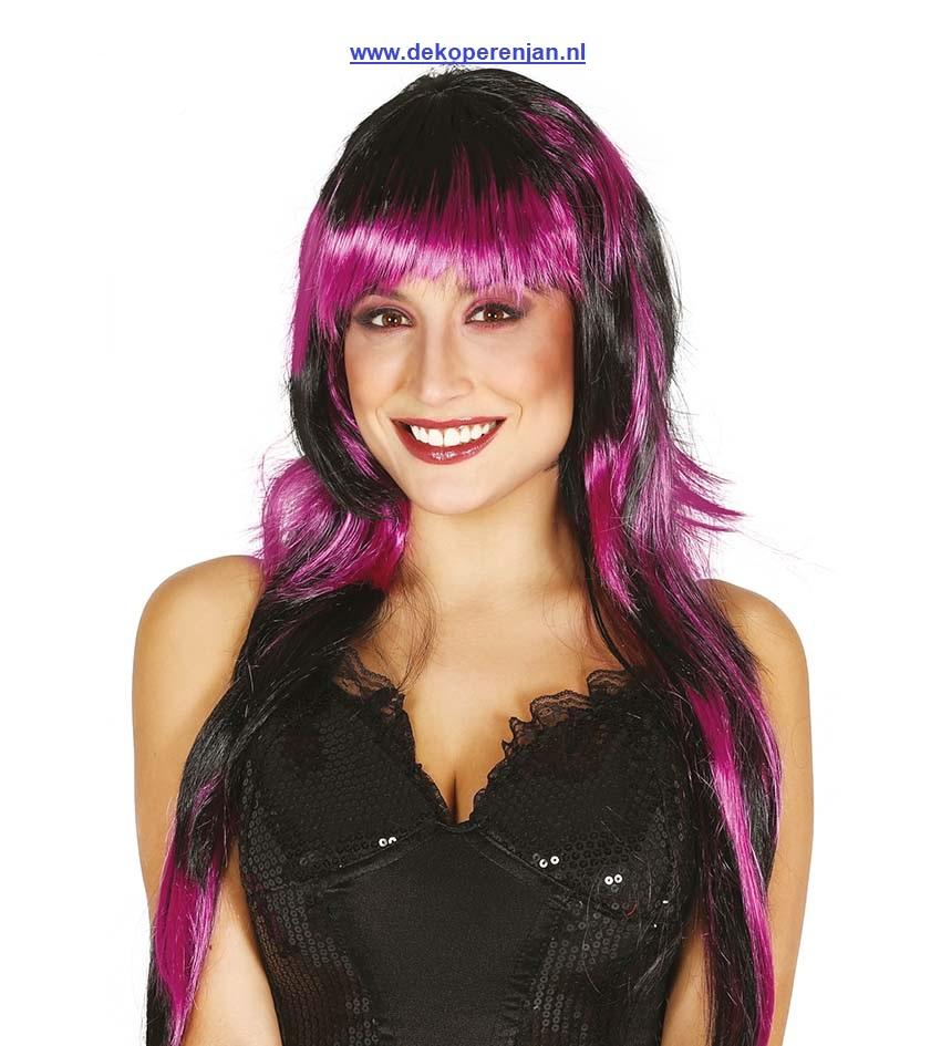 Lange zwart / paarse pruik