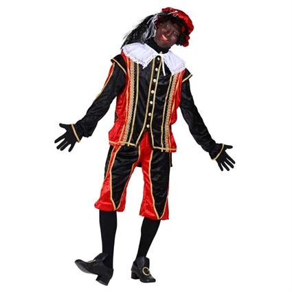 Piet velours 'Bilbao' Rood-zwart maat XXL