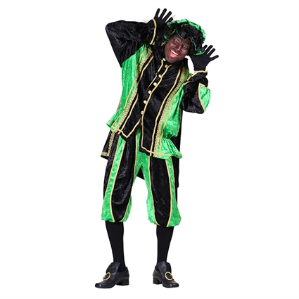 Piet velours 'Bilbao' groen-zwart maat XXL