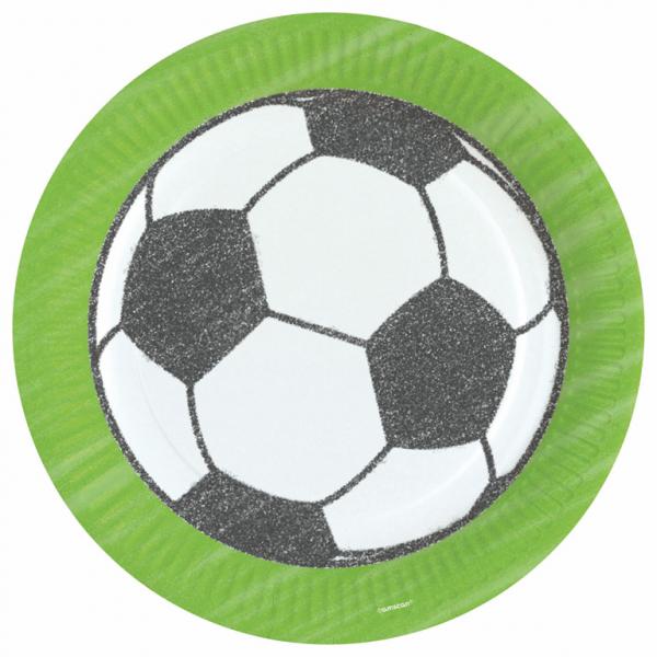 Bordjes voor voetbal feestje 23cm 8 per verpakt