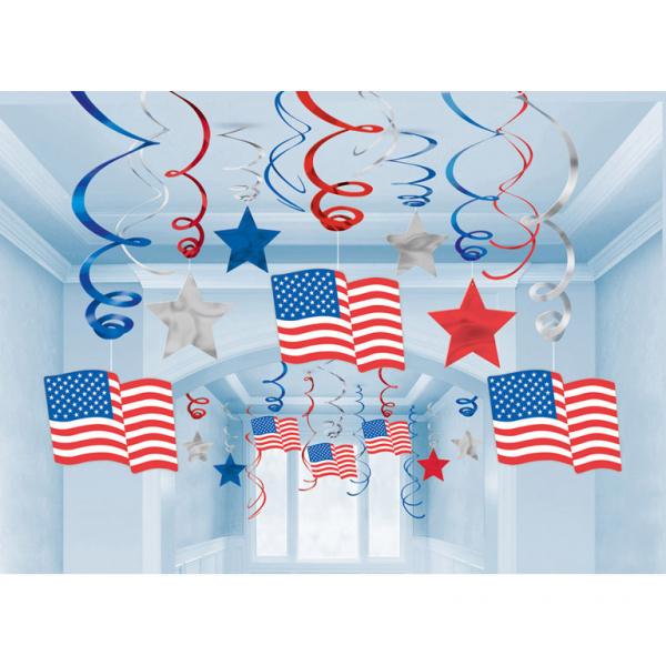 Hang decoratie Amerika USA per 30 verpakt