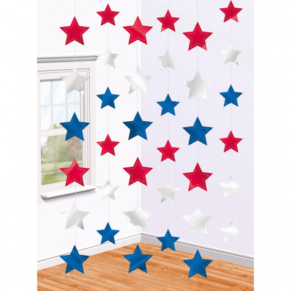 Hang decoratie sterren Amerika USA per 6 verpakt
