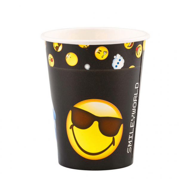 Drinkbeker Smiley per 8 verpakt