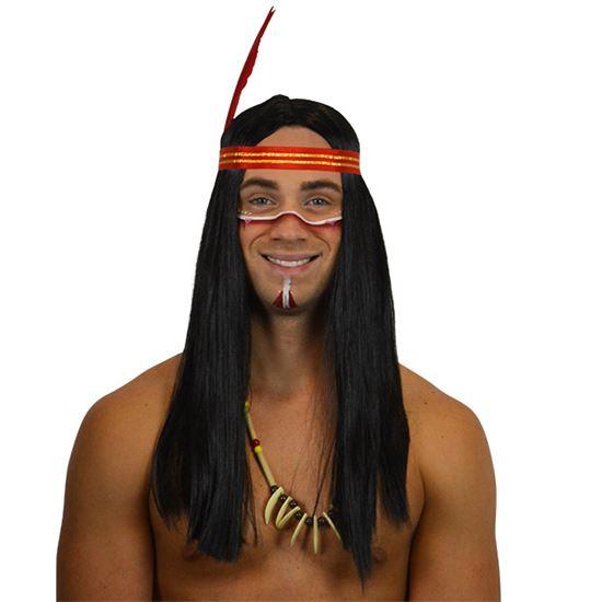 indiaan pruik hip zwart