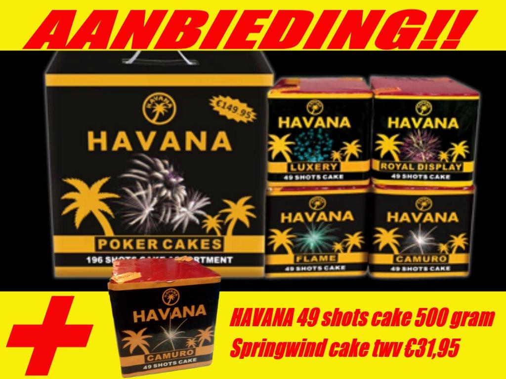 Havana poker box met havana springwind 49 shots 500 grams cake