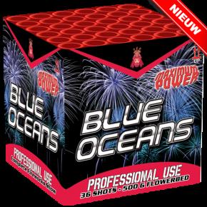 BLUE OCEAN Waanzinnige powercake! Met cracklingeffecten en brede blauwe peony's.