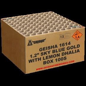 """1.2"""" SKYBLUE GOLD WITH LEMON DHALIA 2 kilo kruit in deze 100 shots cakebox. Maximaal kaliber voor snoeiharde klappen en grote effecten. AANRADER!"""